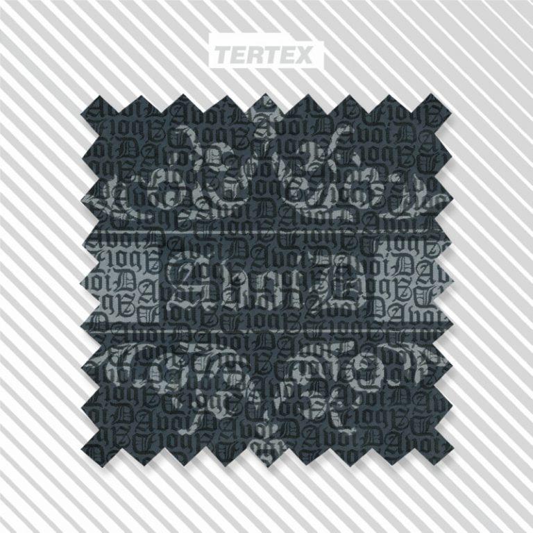 tessuto grigio jacquard con tipografia tono su tono