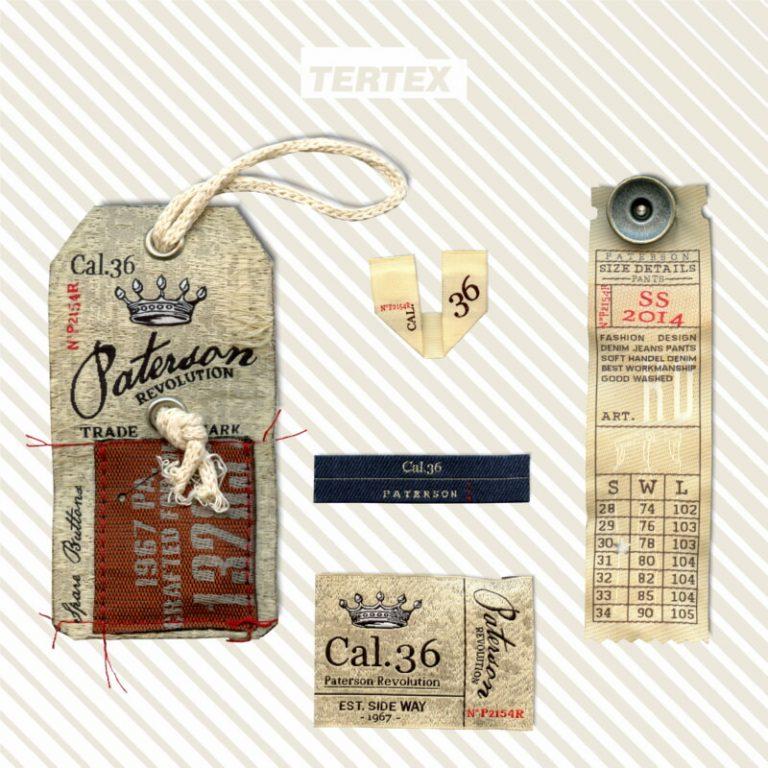 etichette e cartellino beige tessuti con effetto vintage