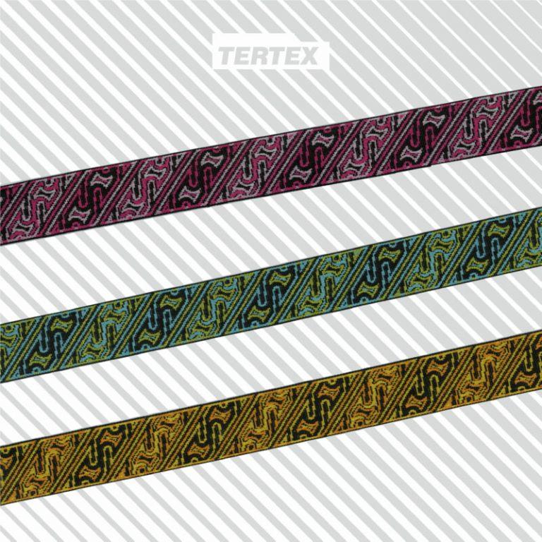 nastri jacquard geometrico colorati tessuti